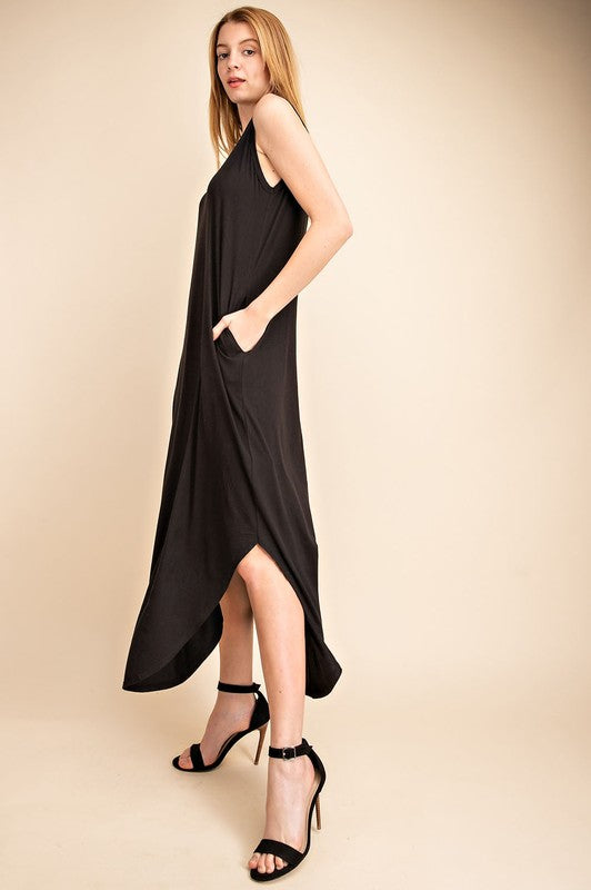 Open Back Black T-shirt Dress