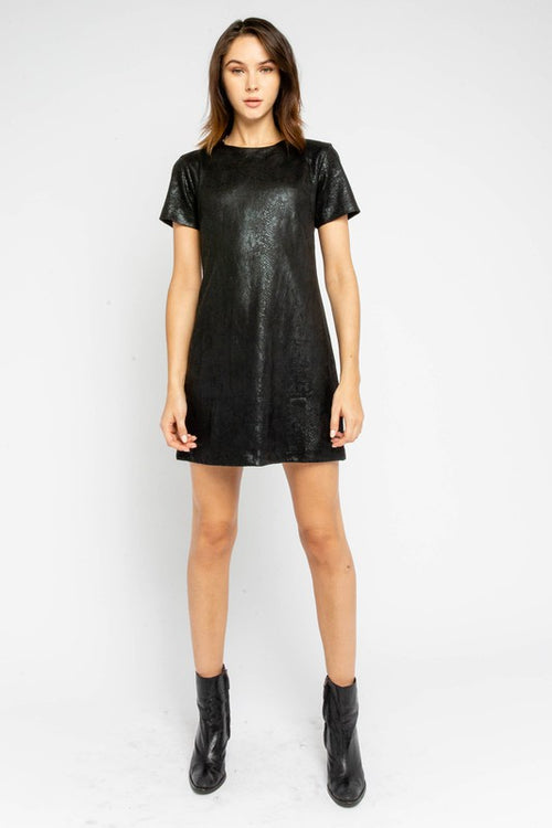 Black on Black Snake Print Leather Tunic