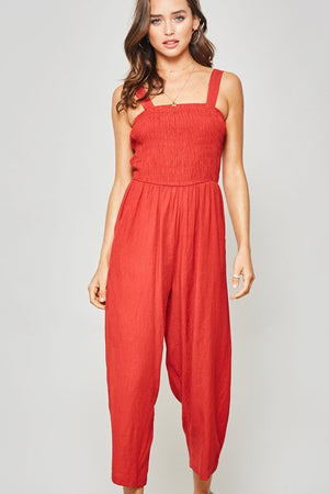 Smocked Cropped Wide-Leg Jumpsuit with Pockets