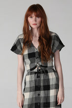 Plaid Button Front Tie Waist Top