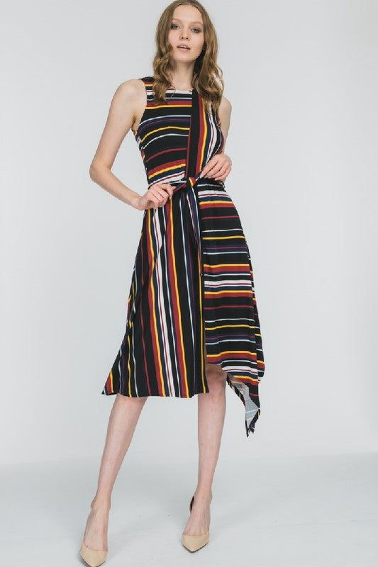 Colorful Stripped Asymmetrical Dress