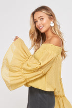 Yellow Off The Shoulder Bell Sleeve Top