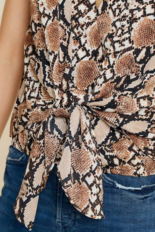 Brown Snake Print Front Tie Top
