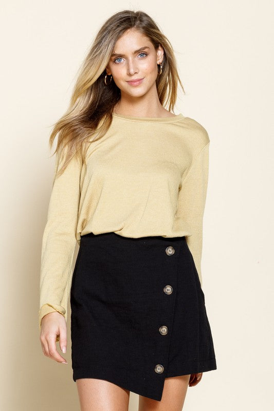 TEXTURED BUTTON DOWN MINI SKIRT