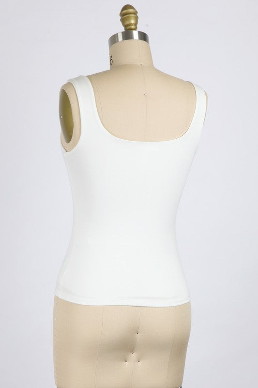 IVORY RAYON MODAL TANK TOP WITH SQUARE NECK