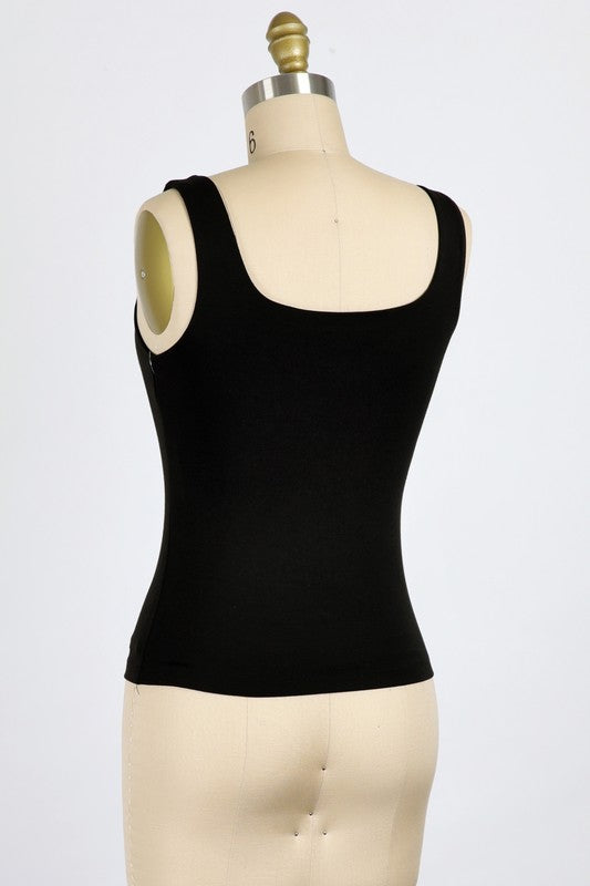 BLACK RAYON MODAL TANK TOP WITH SQUARE NECK