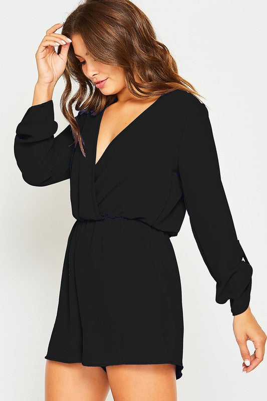 Black Surplice Front Solid Romper