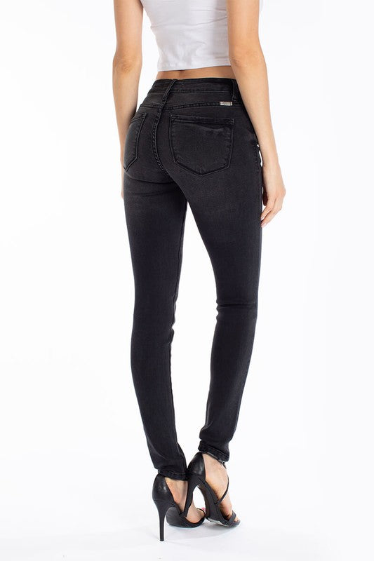 Ash Black Mid Rise Denim