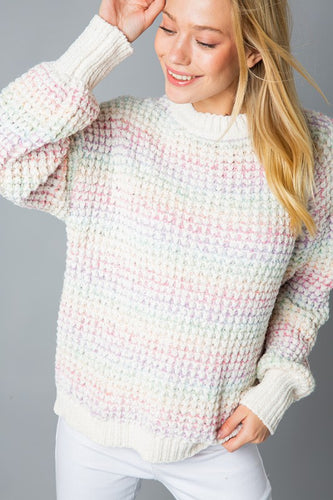 Rainbow Chenille Pullover Sweater