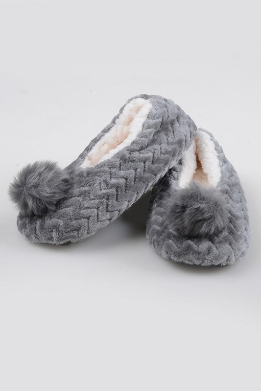 Embroidered Swan Faux Sherpa Lined Slippers