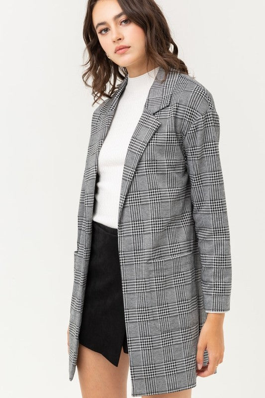 Long Sleeves Check Pattern Jacket
