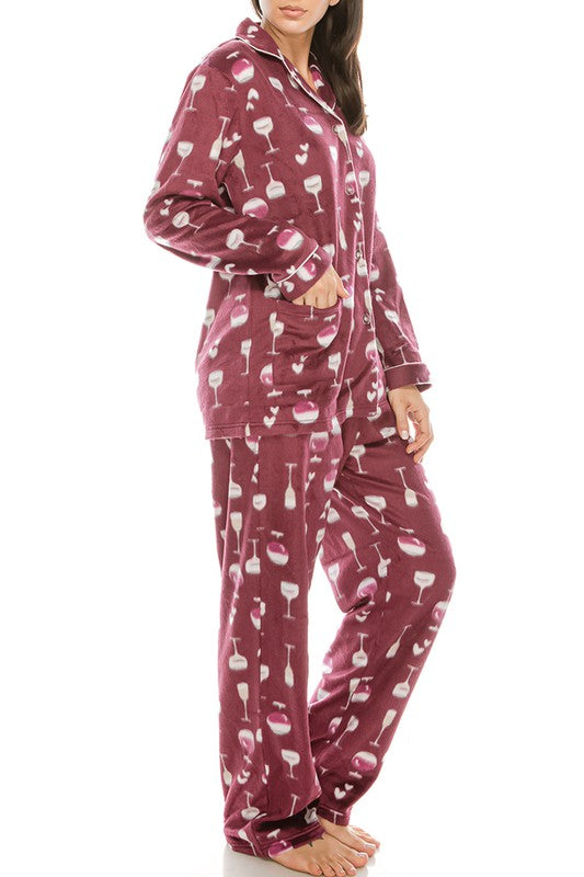 Wine Glass Pajamas Set