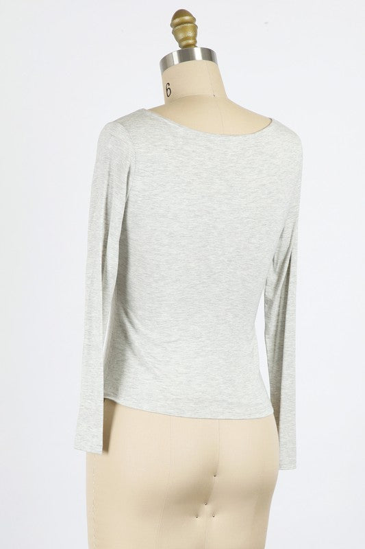Grey RAYON MODAL JERSEY KNIT SCOOP NECK TOP