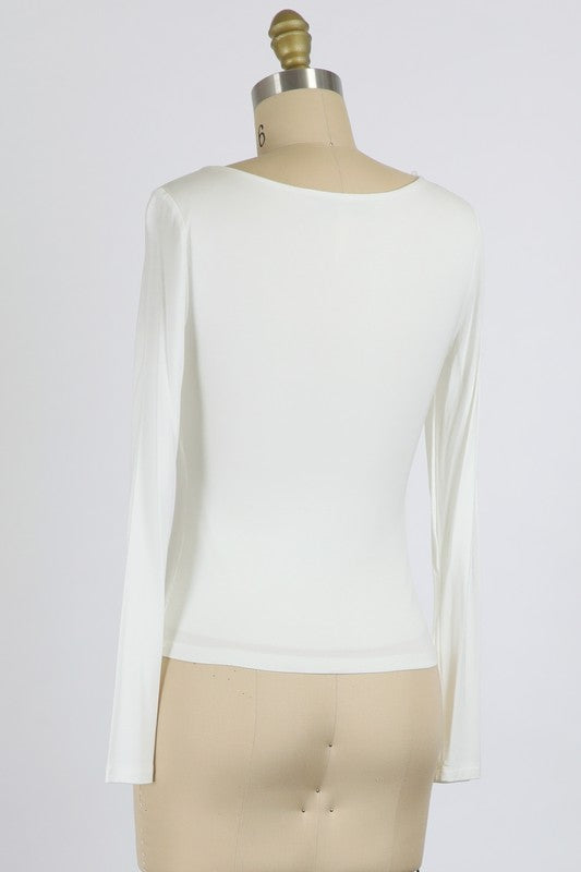 Ivory RAYON MODAL JERSEY KNIT SCOOP NECK TOP