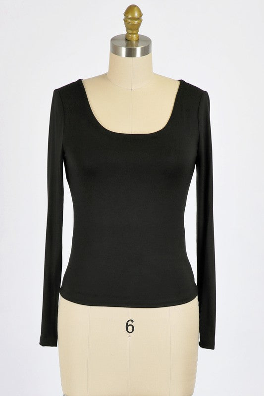 Black RAYON MODAL JERSEY KNIT SCOOP NECK TOP