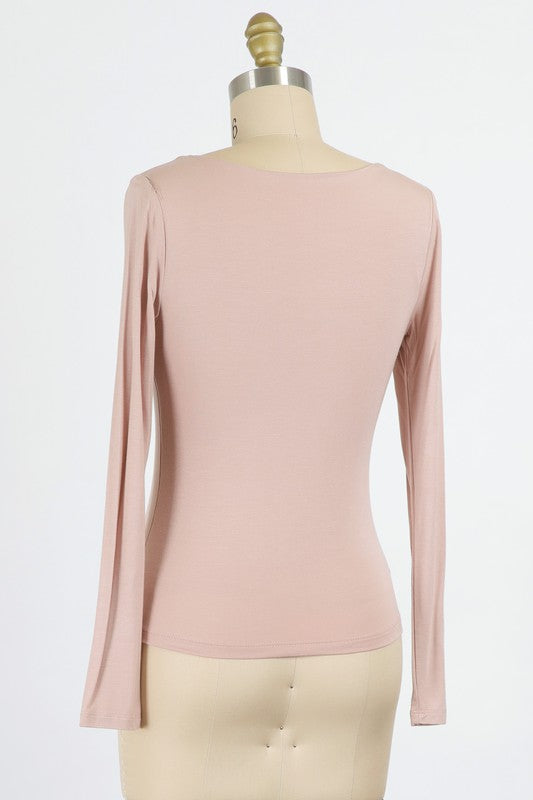 Blush Rayon Modal Jersey Knit Scoop Neck Top