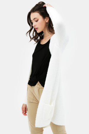 Ivory Open Front Slim Fit Fuzzy Knitted Cardigan