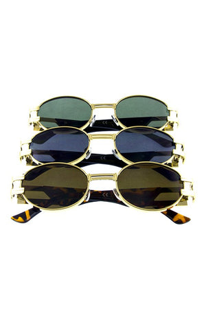 Unisex vintage metal rounded classic sunglasses