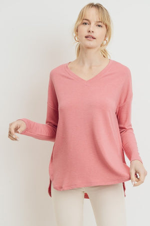 Coral French Terry Basic V Neck High Low Top