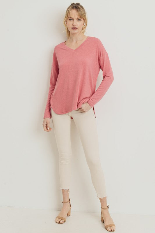 Nicole Taylor Boutique - Lancaster PA's Trendy  Women's Fashion - Coral Terry Cloth V neck High Low Hem Basic Top - Fall Basics - Long Sleeve Top
