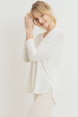 Ivory French Terry Basic V Neck High Low Top
