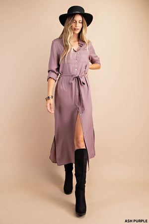 Fall Favorite - Nicole Taylor Boutique - Maxi Dress Button Down Pockets and Waistband Sash