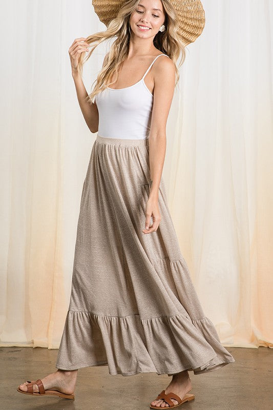 Two tone knit ruffle hem wide leg pants