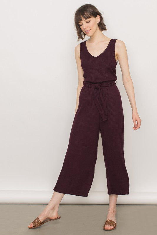 Ribbed Knit Sleeveless Jumpsuit