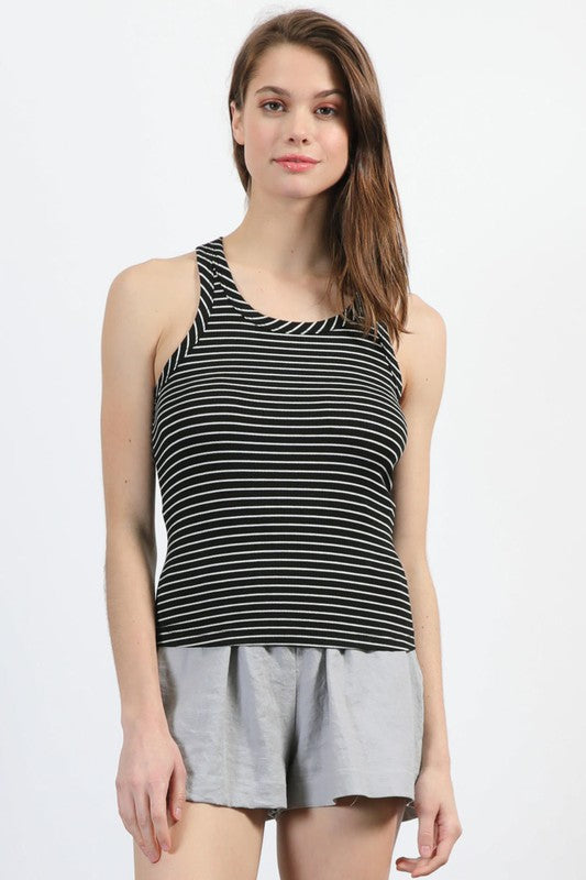 Ribbed Striped Razorback Tank