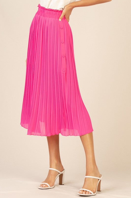 Final Sale - Neon Pink Pleated Midi Skirt