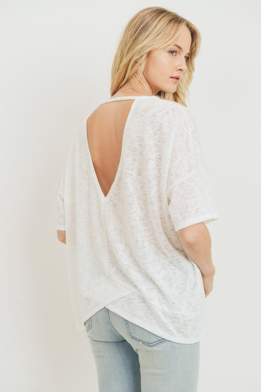 Nicole Taylor Boutique - Lancaster County's #1 Women's Fashion Boutique - Trendy Fall Fashion - Short Sleeve White Keyhole Back