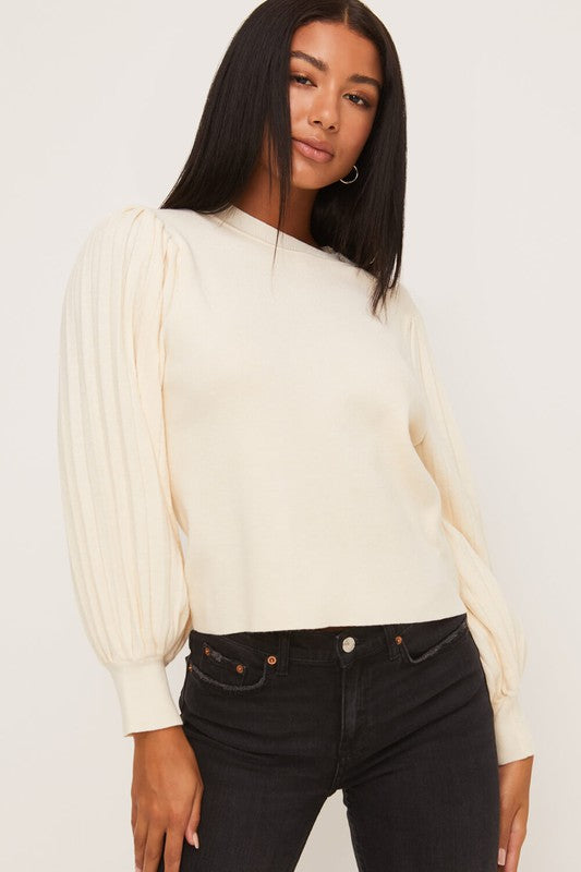 Pleated Sleeve Crewneck Pullover Sweater