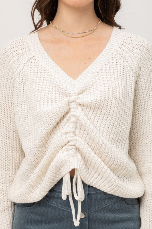 FRONT TIE LONG SLEEVE SWEATER