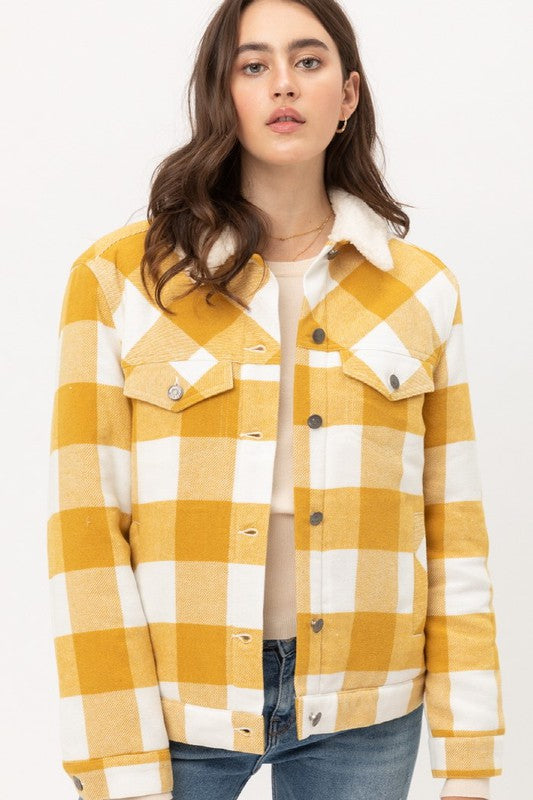 Yellow Sherpa Plaid Jacket