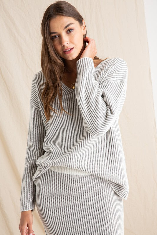 Ribbed Grey and White Over Sized Sweater