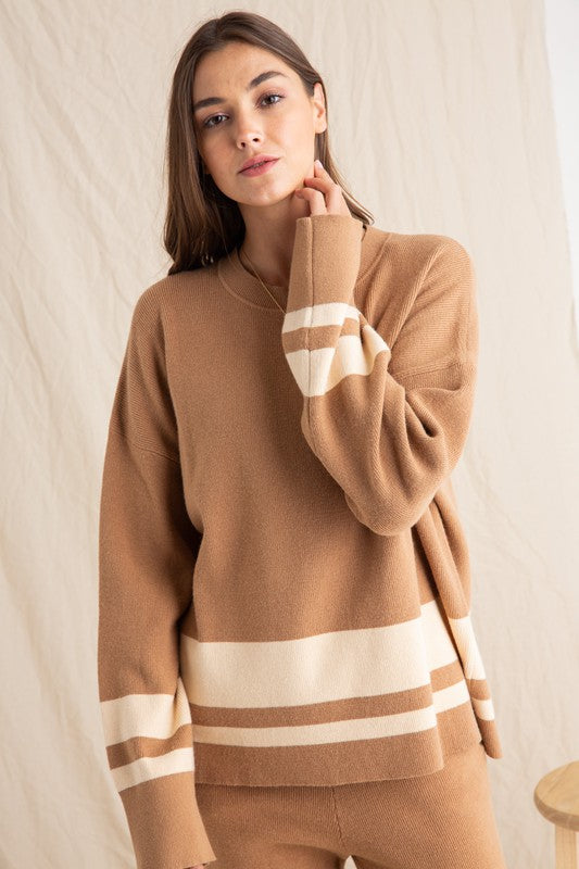 Fun Tan and Cream Strip Cozy Ribbed Sweater