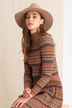 Pola Striped Turtle Neck Ribbed Sweater