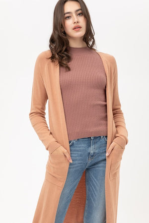 Light Clay Longline Duster Cardigan Sweater
