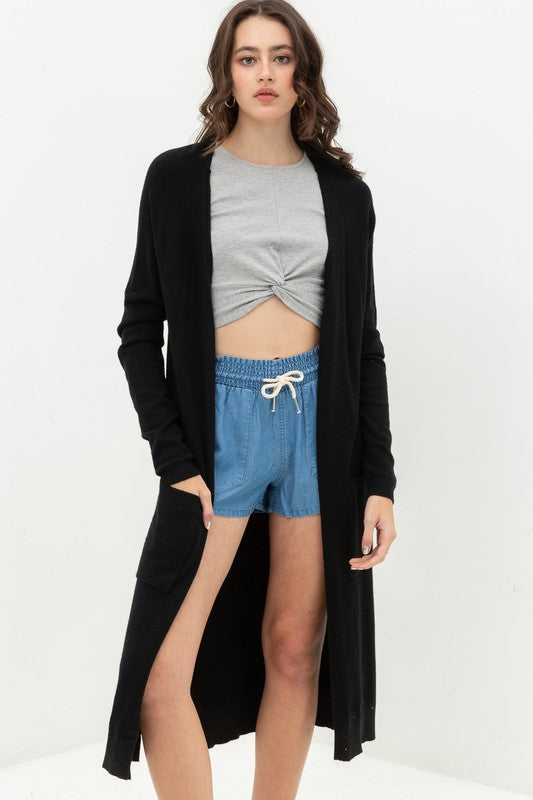 Black Longline Duster Cardigan Sweater