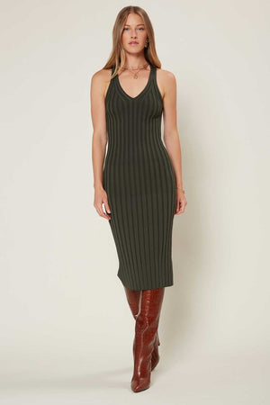 V-NECK RIBBED SLEEVELESS MIDI DRESS