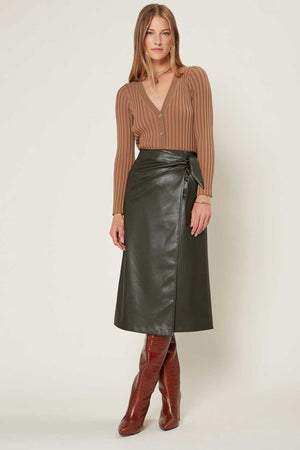 Green Faux Leather Midi Length Skirt With Belt