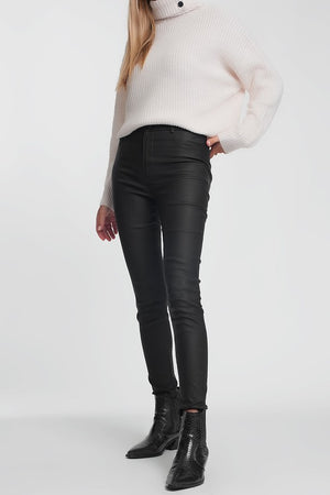 Faux leather high waisted skinny coated jeans