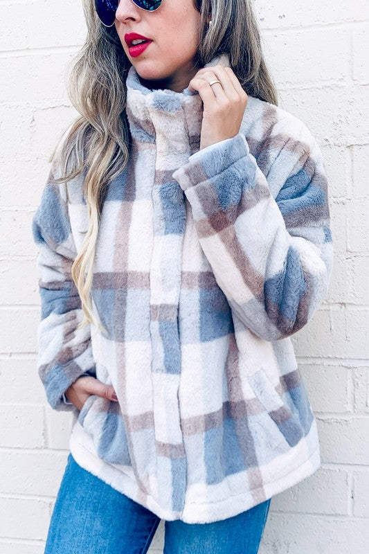 Plaid Printed Faux Fur Cozy Jacket