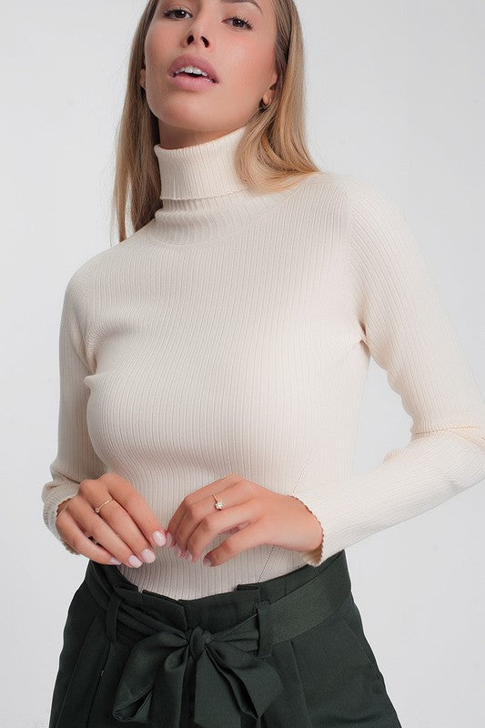 Soft Ribbed Sweater with Turtleneck