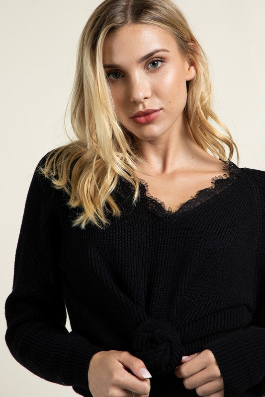 Black Rosalyn Lace Trim Sweater