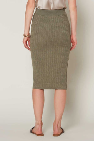 High Rise Knit Sage Pencil Skirt