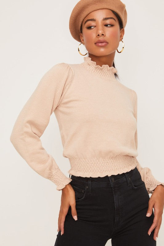 SMOCKED MOCK NECK SWEATER TOP