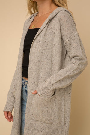 Confetti Textured Hoodie Sweater Cardigan