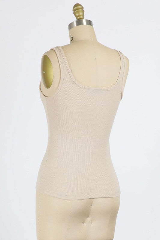 TAUPE WASHED FINE RIB JERSEY TANK TOP