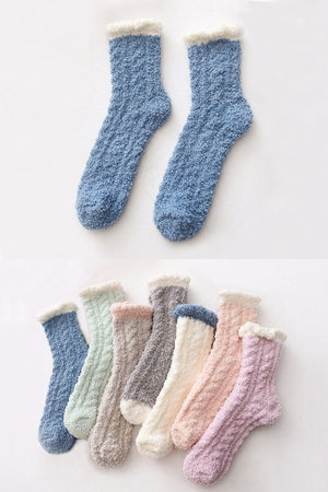 Two Tone Winter Fluffy Cozy Socks - more colors